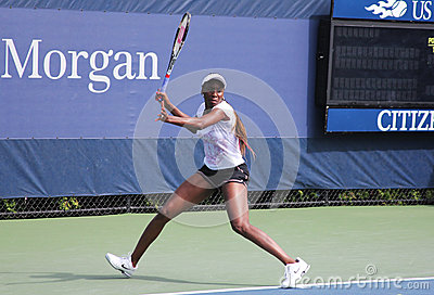 Seven times Grand Slam champion Venus Williams practices for US Open at Billie Jean King National Tennis Center Editorial Stock Photo