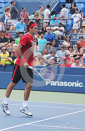 Seventeen times  Grand Slam champion Roger Federer practices for US Open  at Billie Jean King National Tennis Cente Editorial Stock Photo