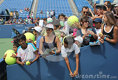 Tennis fans waiting for autographs at  Billie Jean King National Tennis Center Editorial Stock Photo