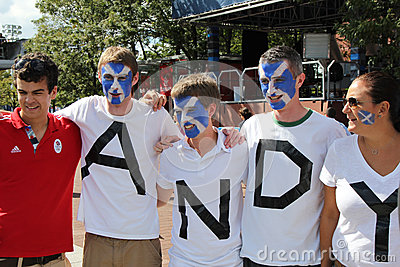Andy Murray s fans ready for final match at US OPEN 2012 at Billie Jean King National Tennis Center Editorial Photography