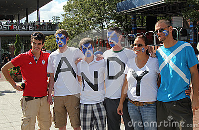 Andy Murray s fans ready for final match at US OPEN 2012 at Billie Jean King National Tennis Center Editorial Stock Photo