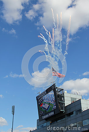 Firework at the opening ceremony of  US Open men final match  at Billie Jean King National Tennis Center Editorial Photography
