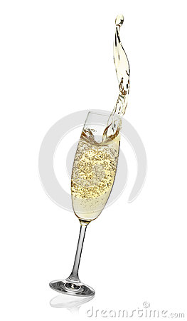 Flute with abstract splash of champagne.