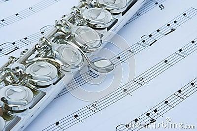 Flute keys on music notes