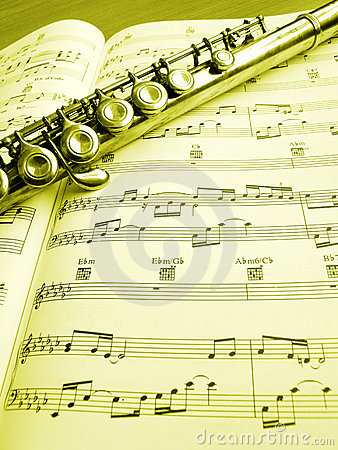 Flute music instrument and score