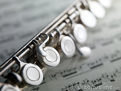 Flute on musical score
