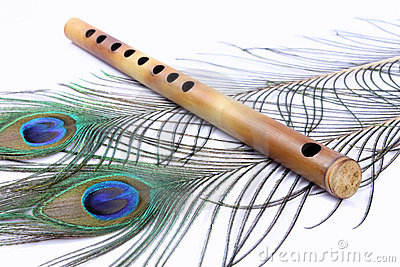 Flute With Peacock Feathers