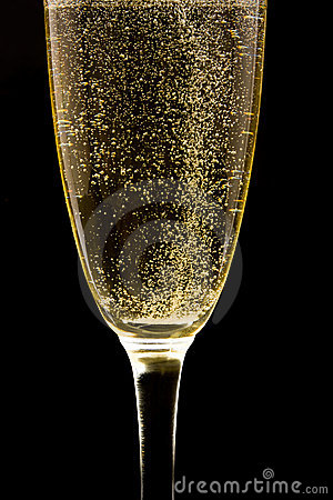 Flute with sparkling champagne