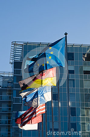 Fluttering flags of the European Union