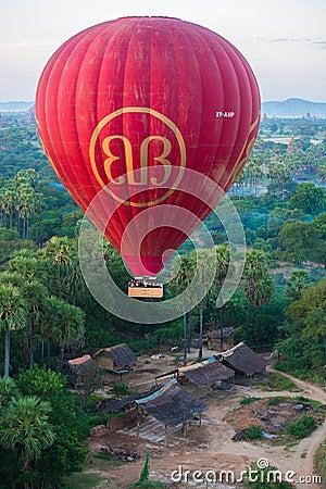 fly a balloon December 4, 2013 in Bagan Editorial Stock Image