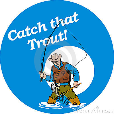Fly fisherman catching trout
