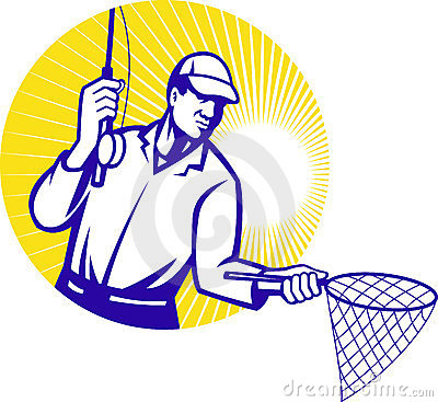 Fly Fisherman Fishing Net Retro Woodcut