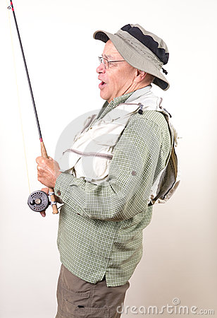 Fly Fisherman - Senior Enjoying Retirement