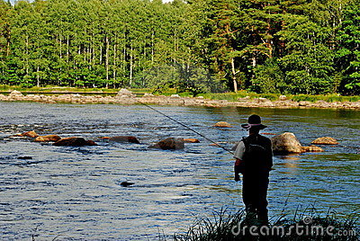 Fly fishing from the bank