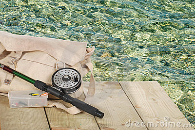Fly fishing equipment on a dock