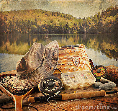 Free Fly Fishing Equipment With Vintage Look Stock Photo - 21199390