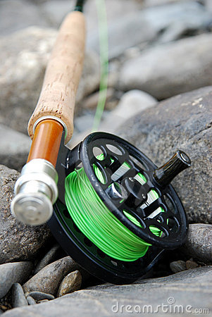 Fishing  on Fly Fishing Rod And Reel Royalty Free Stock Photography   Image