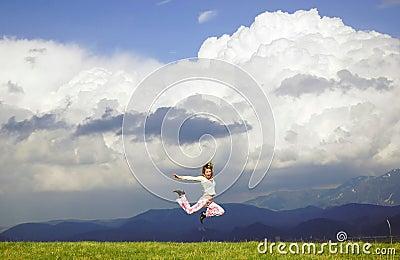Fly happy woman
