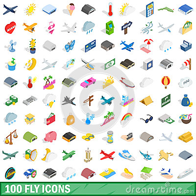 100 fly icons set, isometric 3d style Vector Illustration