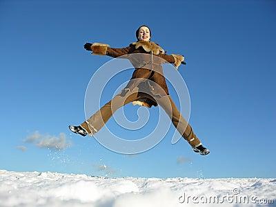 Fly jump girl. winter. 2