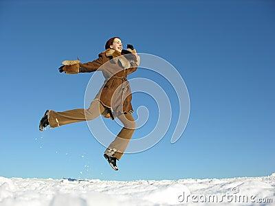 Fly jump girl. winter.