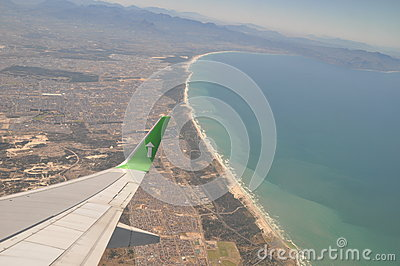 Fly over Cape town coastline South Africa