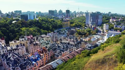 Fly over Vozdvizhenka, part of Podol discrict. Old style colorful elit houses in the center of Kiev. Aerial footage. 4k stock video footage