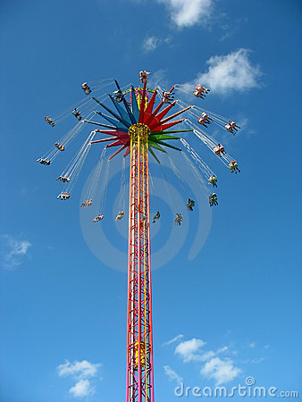 Fly in the sky - big colourful carousel. Editorial Photo