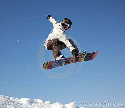 Fly snowboard man Editorial Stock Photo
