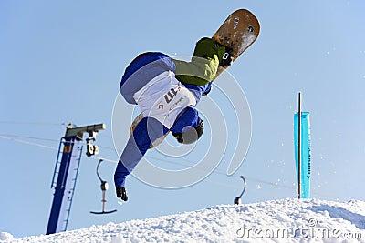 Fly snowboard man Editorial Photo
