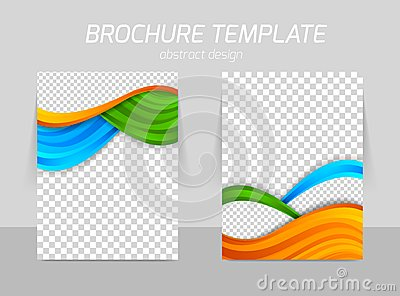 Flyer template back and front design with orange blue green waves