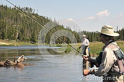 Flyfishing senior couple
