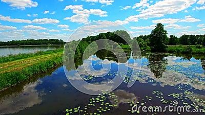Flyg över dammet Reflexion av skyen i bevattna arkivfilmer