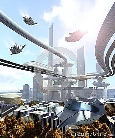 Flyg- sikt av den futuristiska staden