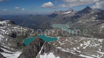 Flyg- sikt av Weissee och Tauernmoosee sjöar, Österrike lager videofilmer
