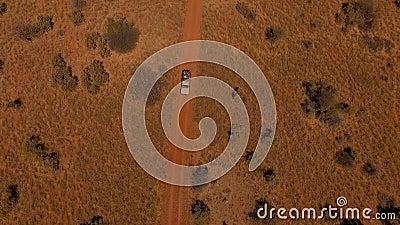 Flyg- sikt: suv med folk som reser på vägen i savannahen av Namibia stock video