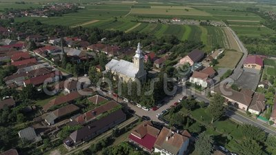 Flyg- video av en stad i Rumänien Satu Mare lager videofilmer