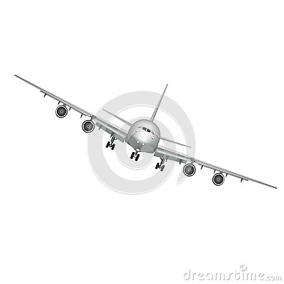 Free Flying Airplane, Jet Aircraft, Airliner. Front View Of Detailed Realistic Passenger Air Plane Isolated On White Stock Images - 109353114