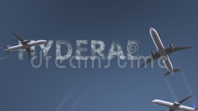 Flying airplanes reveal Hyderabad caption. Traveling to Pakistan conceptual intro animation. Airplanes reveal Hyderabad caption. Traveling to Pakistan conceptual stock video footage
