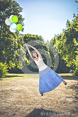 Flying Away With Balloons Stock Photography - Image: 33464822