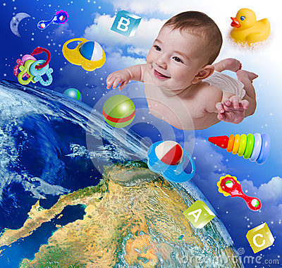 Free Flying Baby On Earth Background Stock Photography - 32382572
