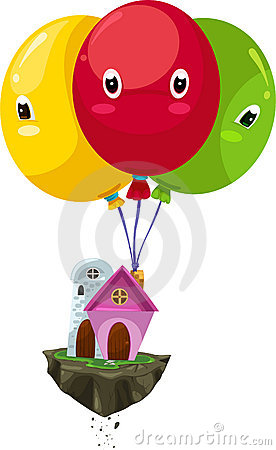 Flying balloon house vector