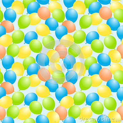 Flying balloons seamless background
