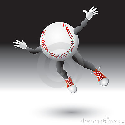 Flying baseball character