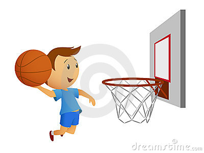 Flying basketball player