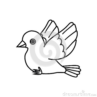 Flying Bird Outline (Ready To Perch) Stock Vector - Image ...  Flying Birds Drawing For Kids