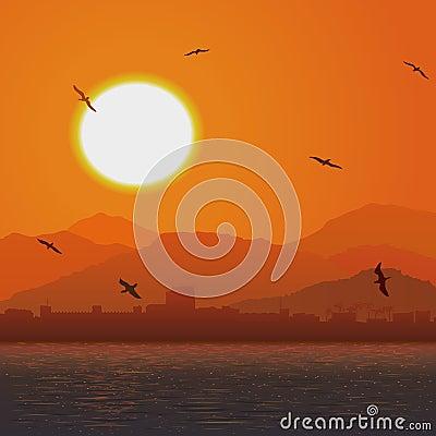 Flying birds against orange sunset ocer coast.