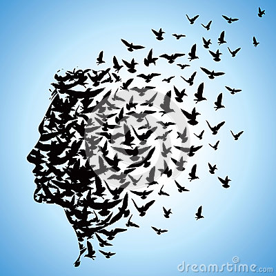 Free Flying Birds To Human Head Royalty Free Stock Image - 28532076