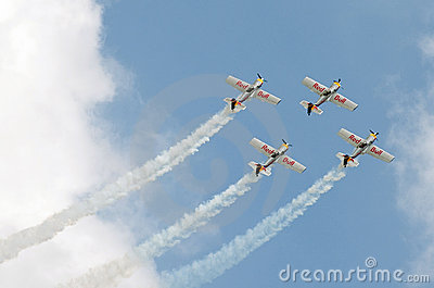 The flying bulls aerobatics team Editorial Stock Image