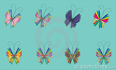 Flying butterfly on a blue background